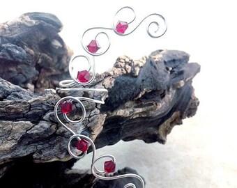 ON SALE Ruby Red Crystal Ear Cuff Ear Climber, Boho Wedding Ear Wrap, No Piercing Required, Valentine Wedding, Bridal Ear Cuff
