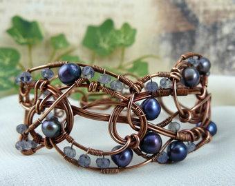 Wirewrapped Cuff Bracelet ~ Wirewrapped Bead Bracelet ~ Copper Wirewrapped Cuff ~ Blue Pearl Bracelet ~ Iolite Bracelet ~ Blue Wire Bracelet