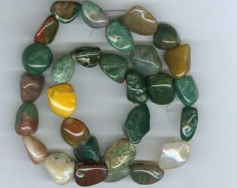 Jasper Nugget Beads, Green Red Brown Fancy Jasper Tumbled Nugget Gemstone Beads 5178