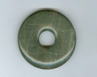PI DAY SALE 45mm Green Lined Jasper Gemstone Pi Donut Focal Pendant Bead Doughnut 948B