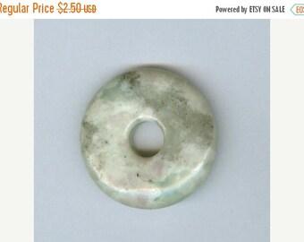 PI DAY SALE Green Focal Donut 32mm Green Gray Peace Jasper Gemstone Pi Donut Focal Pendant 5128T