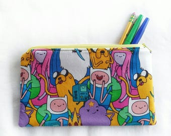 Adventure Time zipper pouch, school pencil or art supply bag, perfect for medication, epi-pen, or cosmetic, makeup travel purse