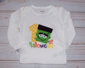 Sample SALE Frankenstein My First Halloween Bodysuit Size 3 Months--Ready To Ship-- HALLOWEEN