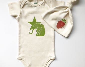 Elephant and Star Organic Cotton Onesie and  Strawberry Hat Set- Made in Seattle-Gift for baby-Baby Shower