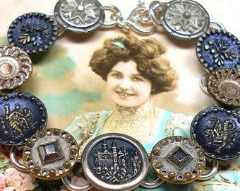 "Antique BUTTON bracelet, Victorian CASTLE & Dragons, 8.5"" jewellery. Present, gift."