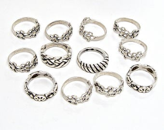Wholesale Vintage 925 Sterling Silver Rings 12 piece lot 24 grams NEW Sizes 3-1/2 to 4-1/2