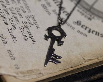 Key to Hell Lucifer Hand Cut Sterling Silver Necklace