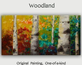 """Sale Tree Painting Changing Season Woodland Modern Art  Original 48"""" landscape painting acrylic painting on canvas by tim lam"""