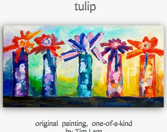 """Sale Art Painting Abstract Painting Original modern Multi Color flower art 48"""" tulip painting on gallery canvas by tim lam"""