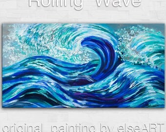 Rolling Wave large art---- Oil painting --- abstract sea art --- home hanging painting modern art - by tim Lam. 48x24 (120 cm x 60 cm)