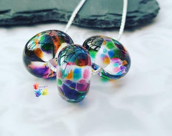 Silver Beaded Necklace, Lampwork Necklace, Forever Rainbows, Sterling Silver Necklace, Lampwork Jewellery, Gift for Her,