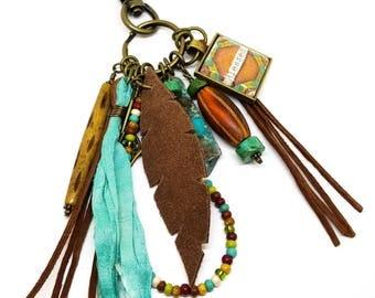 Tassel Keychain | Boho Tassel Charm | Southwest Tassel Bag Charm | Blessed Keychain | Leather Feather Keychain | Tassel Purse Charmu