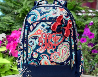 Emerson Paisley Monogrammed Backpack and Hair Bow, girls bookbag, first day of school photo, matching set, bookbag and hairbow