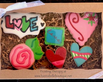 Valentine's Day Themed Decorated Sugar cookies Love Hearts Gift Box