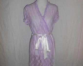 Closing shop SALE 40% off Hand dyed lace robe  nightie sheer