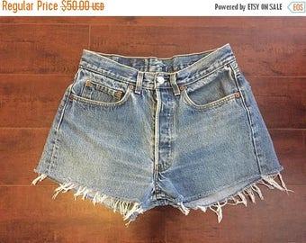SALE 25% off SALE LEVI'S 501 Jeans 501 Button Fly cutoffs cut off Jean Shorts denim   waist W 30