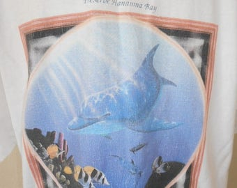Vintage Hawaii Hawaiian tourist T-shirt     dolphin fish   90s         ocean sea
