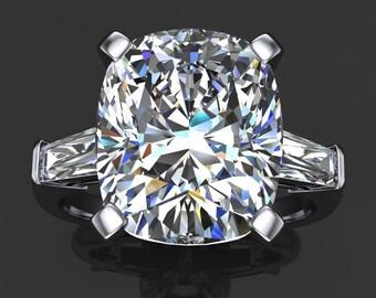 laurel ring – 6.5 carat cushion cut ZAYA moissanite engagement ring,