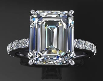 sage ring - 4.9 carat emerald cut NEO moissanite engagement ring, colorless moissanite