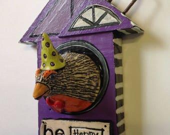 Be Happy Ceramic Bird in Wood bird house