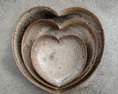 nesting ceramic heart bowls 4 inches - Stone Lodge grey