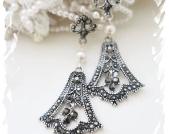 Art Deco Wedding Earrings Marcasite Crystal Swarovski Pearl Bridal Chandelier Earrings Vintage Gatsby Flapper Earrings Statement 1920s 1930s