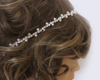 Rose Gold Bridal Headband Pearl Wedding Headband Rose Gold Crystal Bridal Headwrap Rhinestone Hair Accessories  Bridal Hair Chain Delicate