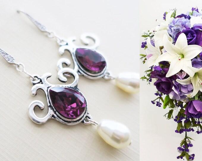 Amethyst Bridal Earrings Purple Bridesmaid Jewelry Swarovski Drop Pear Pearl Crystal Vivid Grape Wedding Jewelry Sterling Aubergine Violet