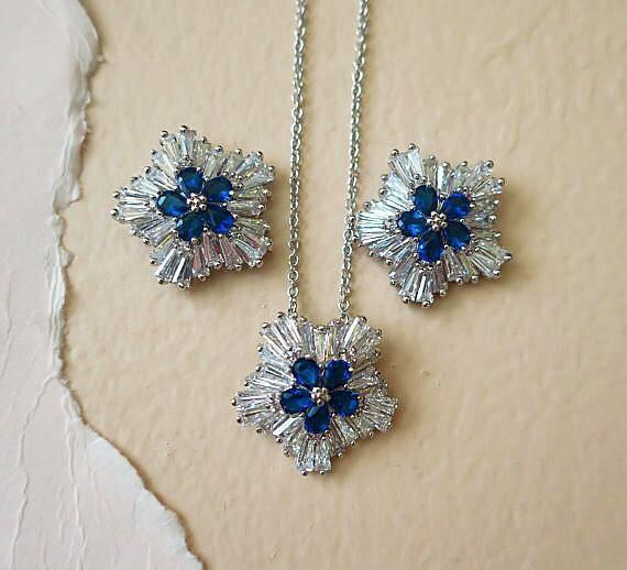 sapphire blue bridal necklace earrings set