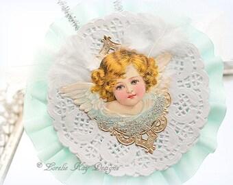 Victorian Inspired Angel Ornament Antique Scrap Decoration Romantic Feather Tree Ornie Lorelie Kay Original