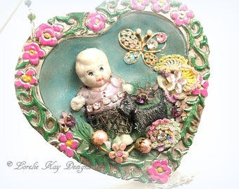 A Girl & Her Dog Necklace Girly Pastels Doll Statement Necklace Flowers Lorelie Kay Original Pendant