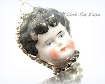 Large Doll Face Necklace China Doll Frozen Charlotte China Doll Head Pendant Lorelie Kay Designs Original Doll Jewelry