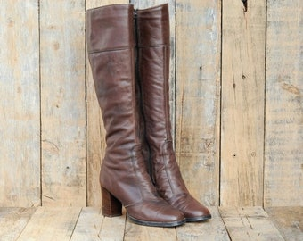 CLEARANCE 1960s, Leather Boots, Us 5, Uk 3, Eu 36, Knee high Boots, Brown Leather Boots, Womens Boots, USA MADE, Tall Leather Boots, High He