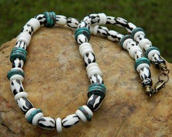 Chevron Bone Bead Unisex Necklace
