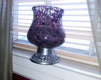 30% OFF Large Purple Mosaic Glass Candle Holder, 7 1/2 inches tall