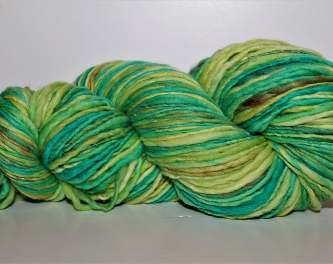 Handspun Merino Wool Yarn.  Single ply Worsted Weight. Kettle Dyed. Super Fine Merino. Appx. 4oz. 220 yards