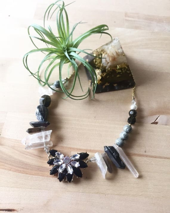 Lydia Necklace Black and Gray Mixed Media Crystal and Stone Statement Necklace
