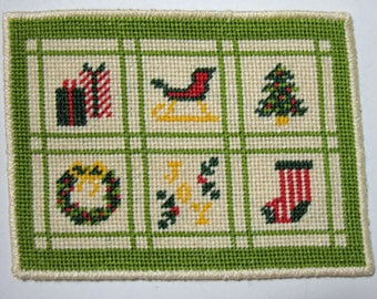 Dollhouse Miniature Christmas Needlepoint Rug with Bright Green and Off-White Border