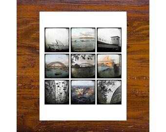8x8 Print - [Mon-52] - Sydney Images - brown, BW, squares