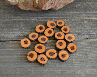 4 Small wooden buttons- Juniper, handmade buttons (4005)