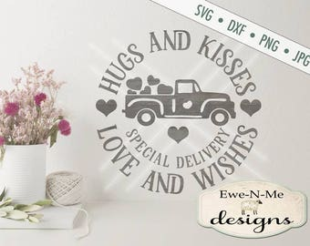 Valentine SVG File  - Hugs and Kisses Love and Wishes svg - Commercial Use SVG file - Digital svg, dxf, png and jpg files available