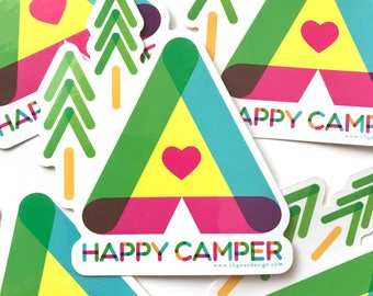 Happy Camper Sticker - Sticker Happy Camper with Tent, Trees and Heart - Colorful Happy Camper Decal Die Cut by Oh Geez Design
