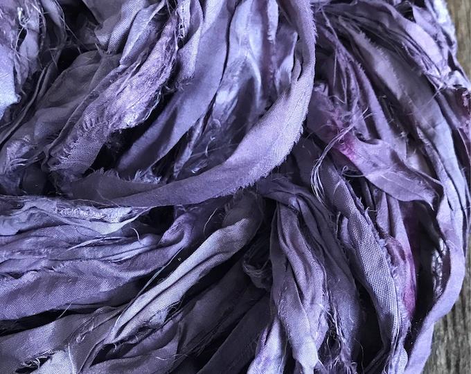 Logwood dyed sari silk strip yarn, 50 yards, upcycled sari silk strips, plant dyed