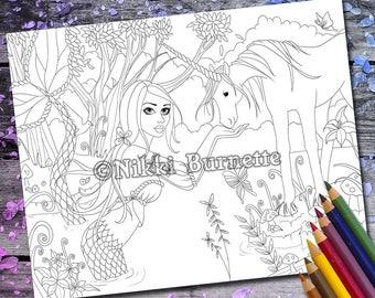 Coloring Page - Digital Stamp - Printable - Fantasy Art - Stamp - Adult Coloring Page - ALIYA - by Nikki Burnette