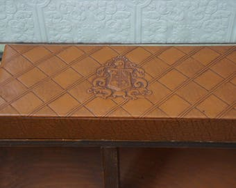 Mid Century Storage Box, Guildcraft Chicago Kraft Caramels, Brown Embossed Faux Leather, Jewelry valet box
