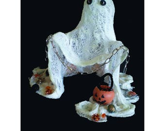 Halloween decoration vintage style old fashioned cheesecloth glow in the dark ghost retro spooky home decor Trick or Treat primitive