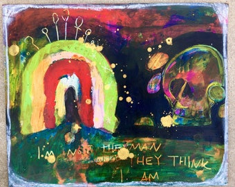 "Original ""I'm Not the Man They Think I Am""  Painting,  Mixed-media, Visionary, Intuitive, Shamanic, Acrylic, Watercolor, Love, Magic."