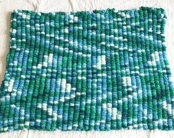 Hand Knitted Ocean Coloured Pom Pom Blanket