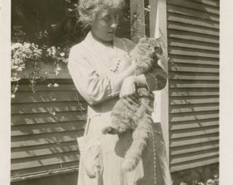 vintage photo 1920 Woman Holding a Fat CAt in her Arms