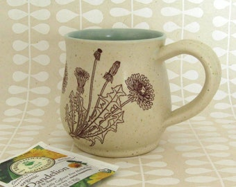 Ceramic Mug - Ready to Ship - Dandelion Mug - Botanical Mug - Stoneware Mug - Hand Thrown Mug - Handmade Ceramic Mug